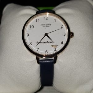 kate spade metro navy leather watch